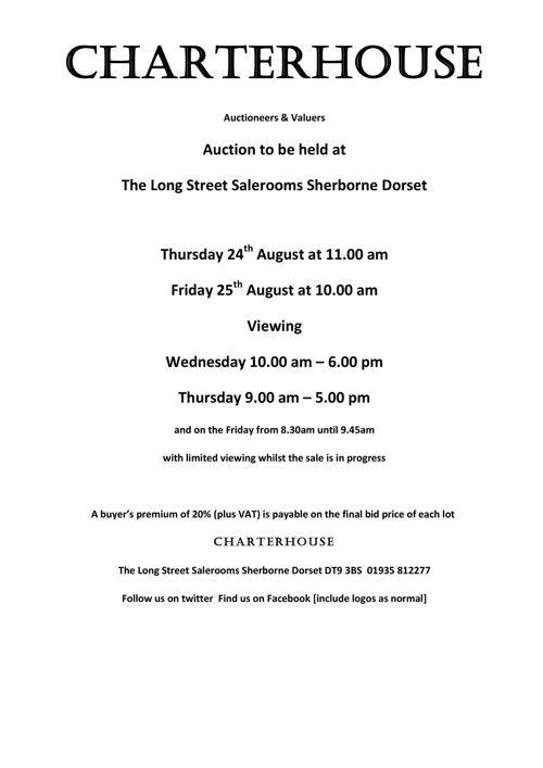 Charterhouse August 2017 Antique Auction Catalogue