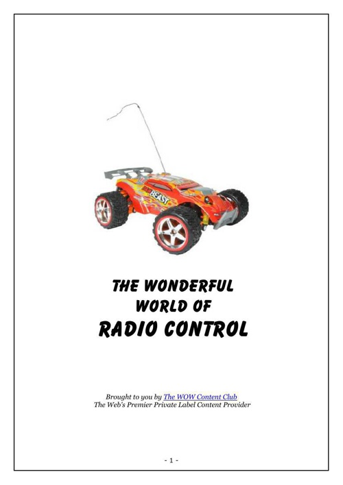 The Wonderful World of Radio Control