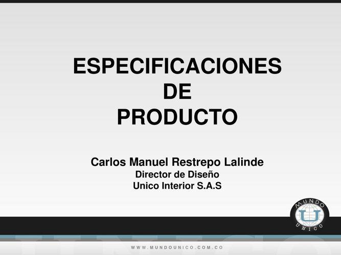 Especificaciones de producto