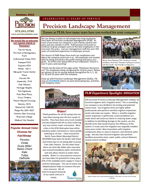 Precision Landscape Newsletters 2012