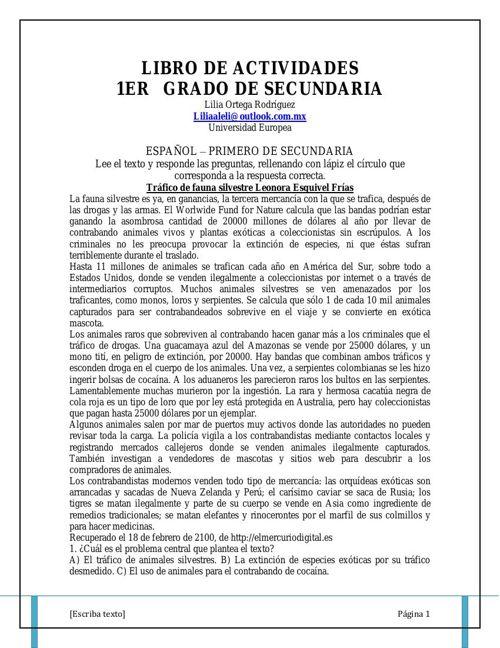LIBRO DE ACTIVIDADES  SECUNDARIA