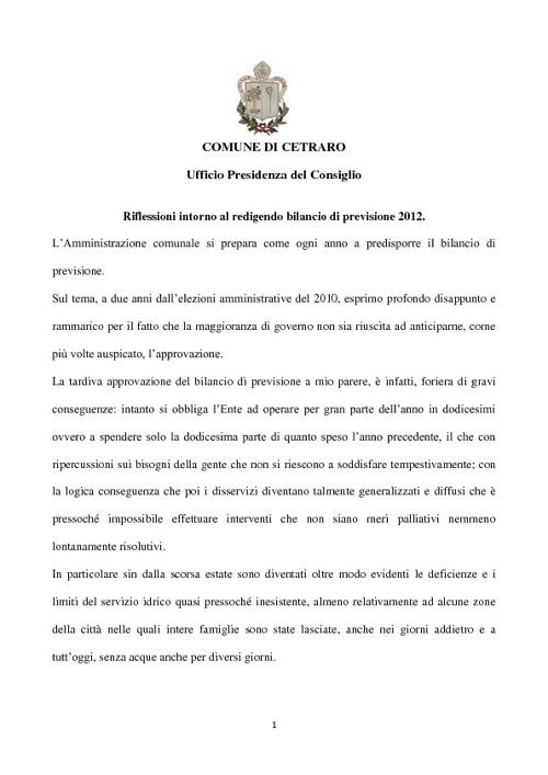 Nota del 03 aprile 2012 di Beniamino Iacovo