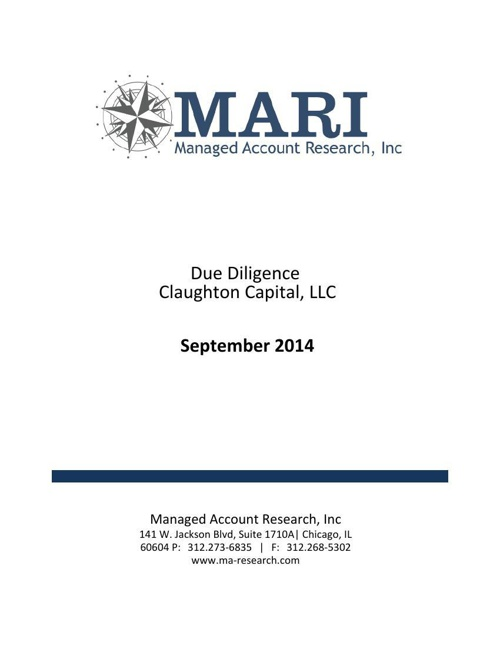 MARI Claughton Due Diligence eBook Sept 2014
