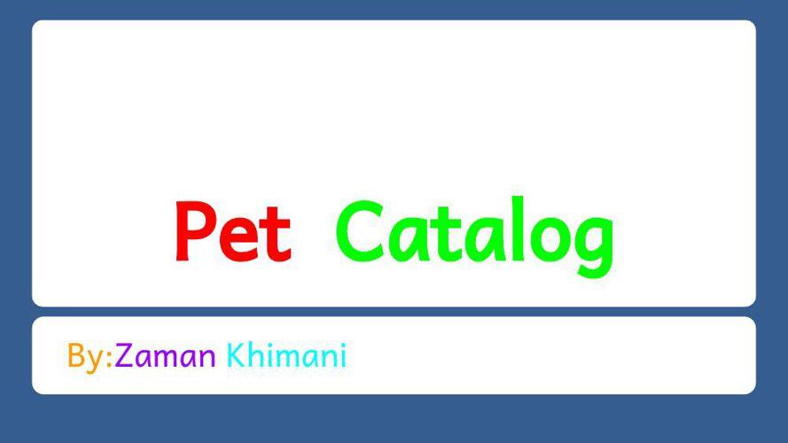 Catalog Project - ZAMAN KHIMANI