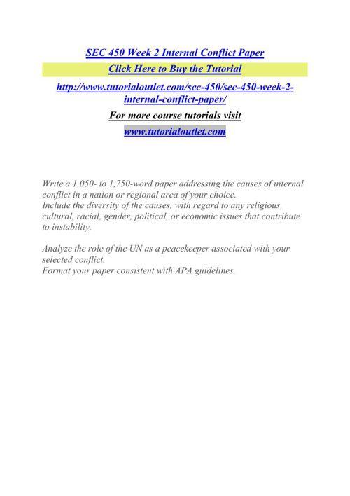 SEC 450 Week 2 Internal Conflict Paper