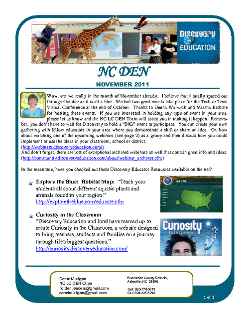 November 2011 NC DEN Newsletter