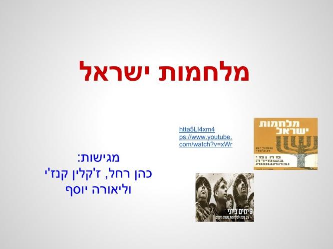 מלחמות ישראל - עבודה לתלמידים