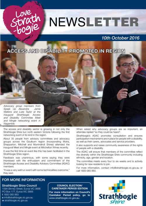 Love Strathbogie Newsletter  10/10/2016