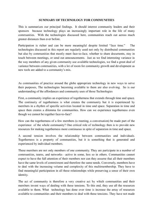 Summary of Technology for Communities - tayfununlu1@gmail.com