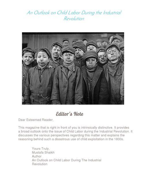 Mustafa Shaikh- Children in the Industrial Revolution