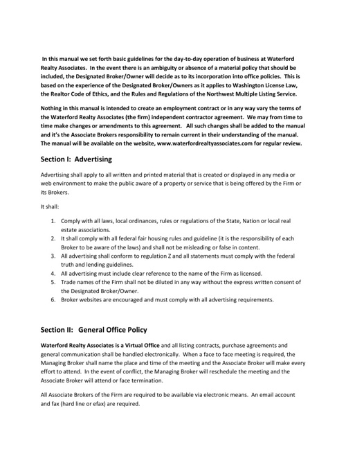 Waterford Realty Associates Policy Manual
