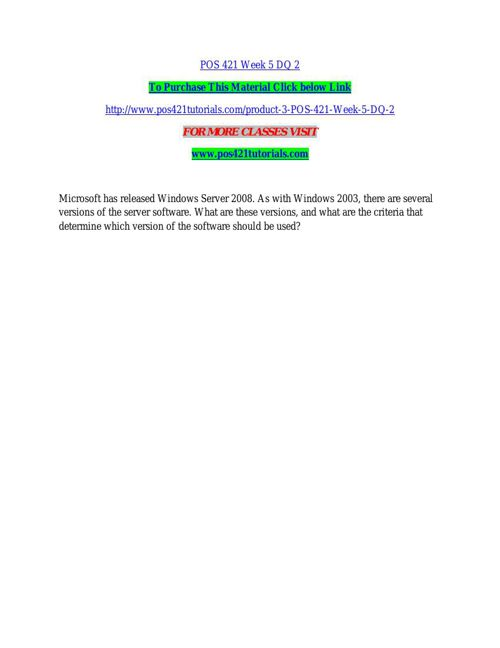 POS 421 TUTORIALS Real Education/pos421tutorials.com