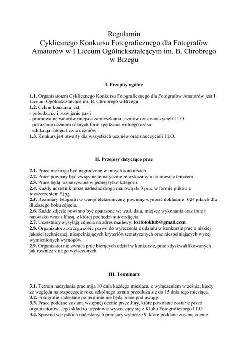Cykliczny Konkurs Fotograficzny - regulamin
