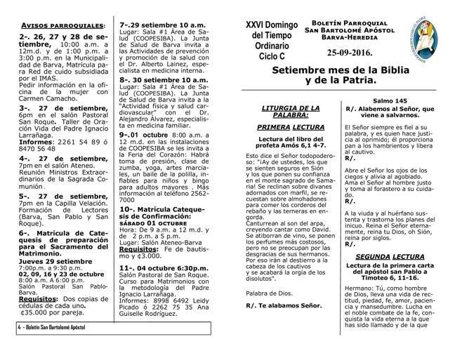 Boletín 685 XXVI Domingo del Tiempo Ordinario