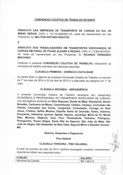 CONVENÇÃO COLETIVA TRABALHO 2014-2015