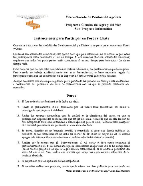 Normas para participar en Foros y Sesiones de Chat