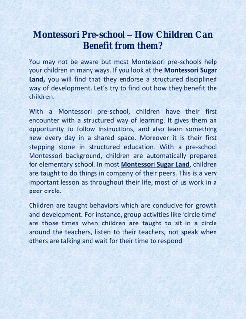 Montessori Pre-school – How Children Can Benefit from them