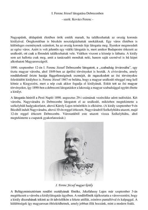 Ferenc József debreceni látogatása