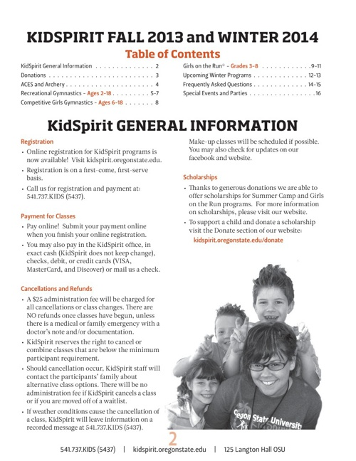 KidSpirit Fall/Winter Brochure
