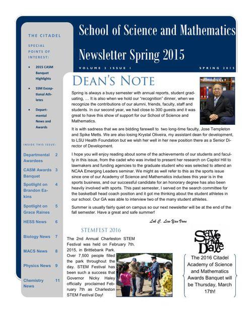 Citadel SSM Spring 2015 Newsletter