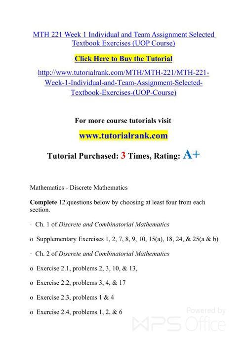 MTH 221 UOP Courses /TutorialRank