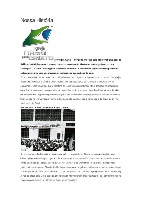 História da igreja O Brasil para Cristo