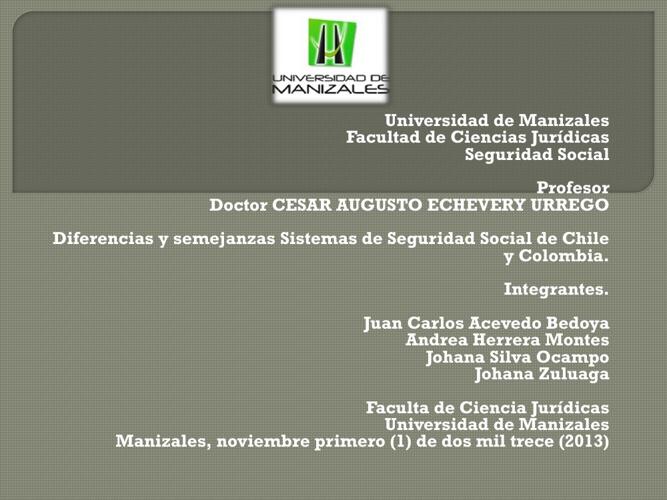 Sistemas de Seguridad Social de Chile y Colombia
