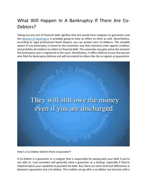 What Would Happen In Regards To Bankruptcy If There Are Co-Debto