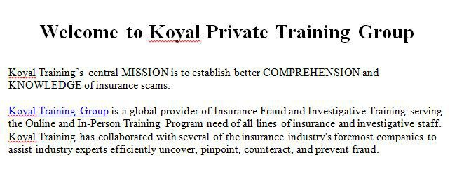 Welcome to Koyal Private Training Group