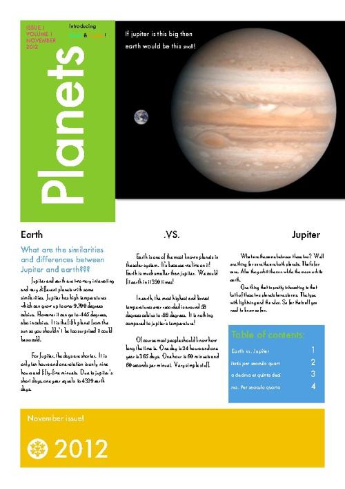 Jupiter & Earth