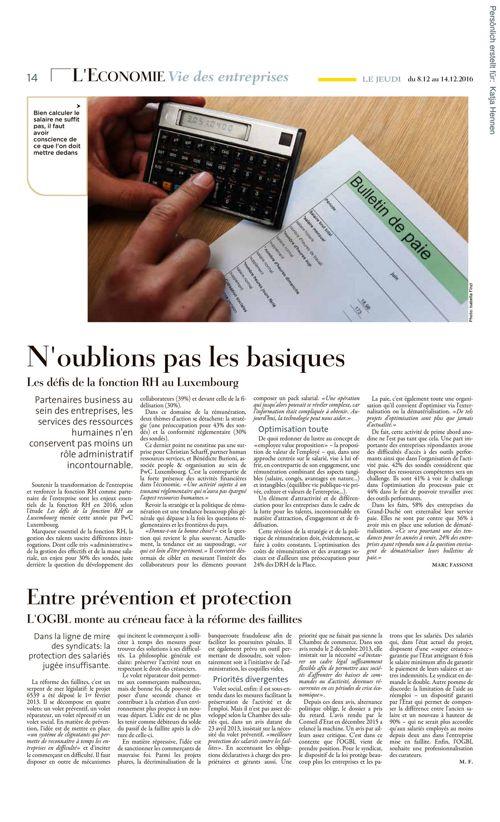 La revue de presse de l'IUIL - décembre 2016