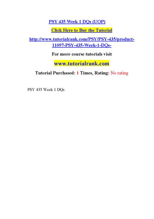 PSY 435 Course Career Path Begins / tutorialrank.com