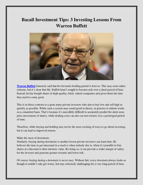 Bacall Investment Tips: 3 Investing Lessons From Warren Buffett