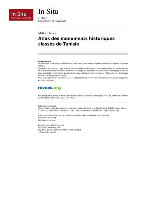 monuments classés de Tunisie