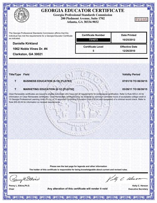 Teacher Certiifcations