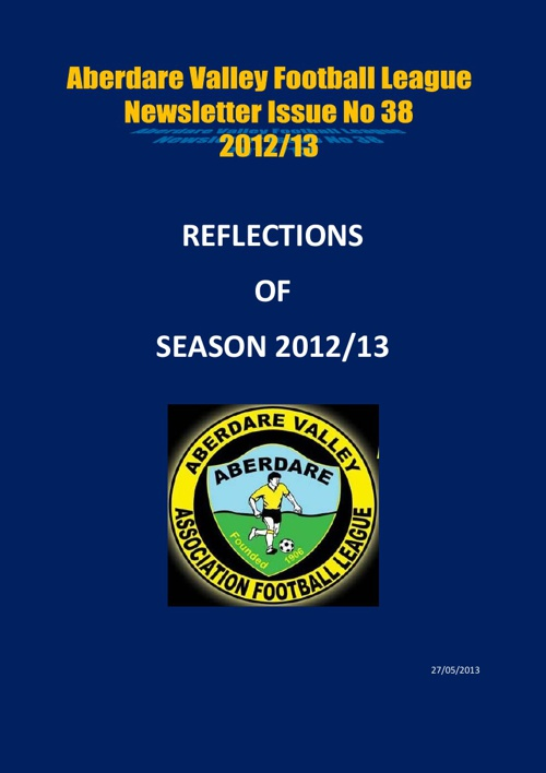 ABERDARE VALLEY FOOTBALL LEAGUE SEASON REVIEW NEWSLETTER