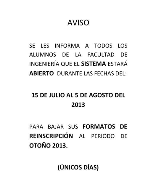 REINSCRIPCION OTOÑO 2013