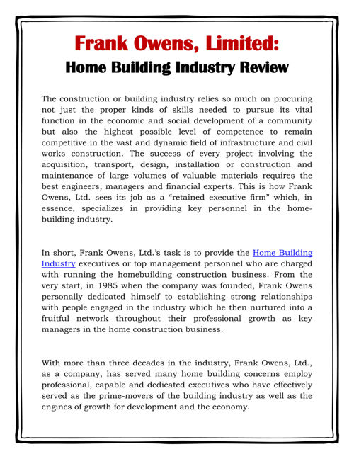 Frank Owens, Limited: Home Building Industry Review