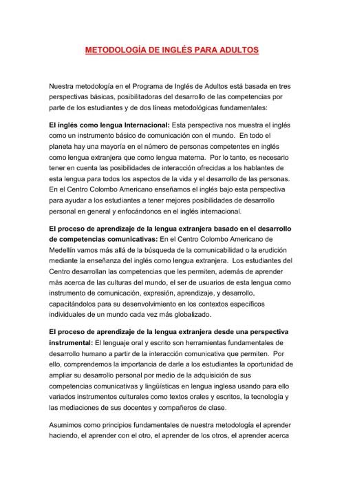 METODOLOGÍAS DE INGLÉS EN LA EDAD ADULTA