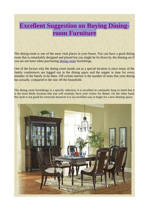 Excellent Suggestion on Buying Dining-room Furniture
