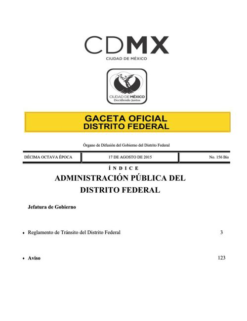 Nuevo Reglamento de transito D.F. 2015 P