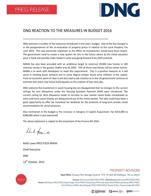DNG Press Release Budget 2016 Reaction