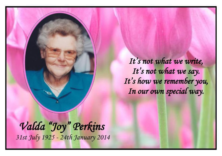 Thank You Card for Valda Joy Perkins