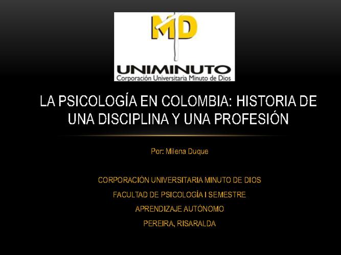 BREVE HISTORIA DE LA PSICOLOGIA EN COLOMBIA