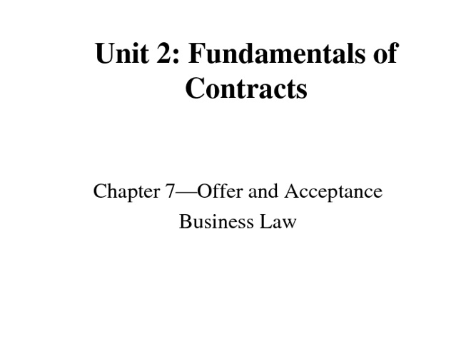 Chapter 7 Contracts