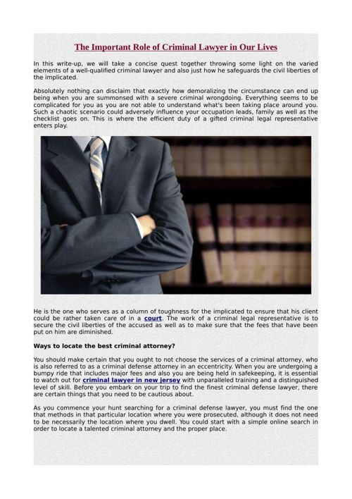 The Important Role of Criminal Lawyer in Our Lives