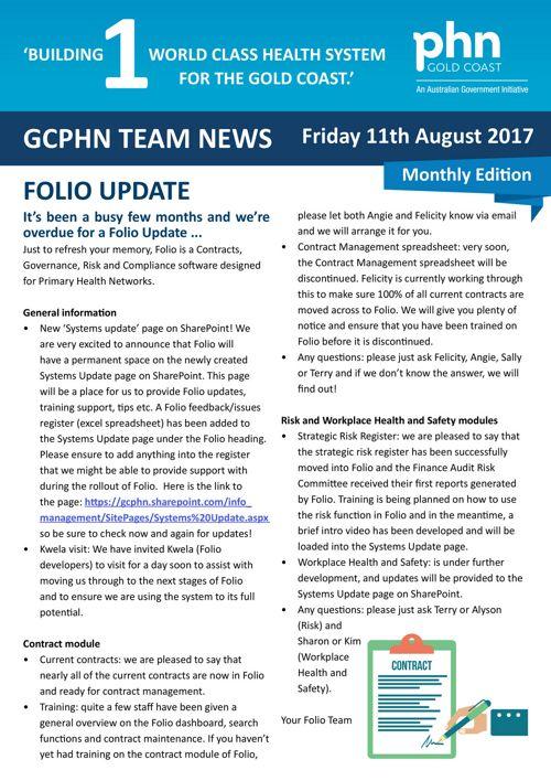 GCPHN Team News 11 August 2017