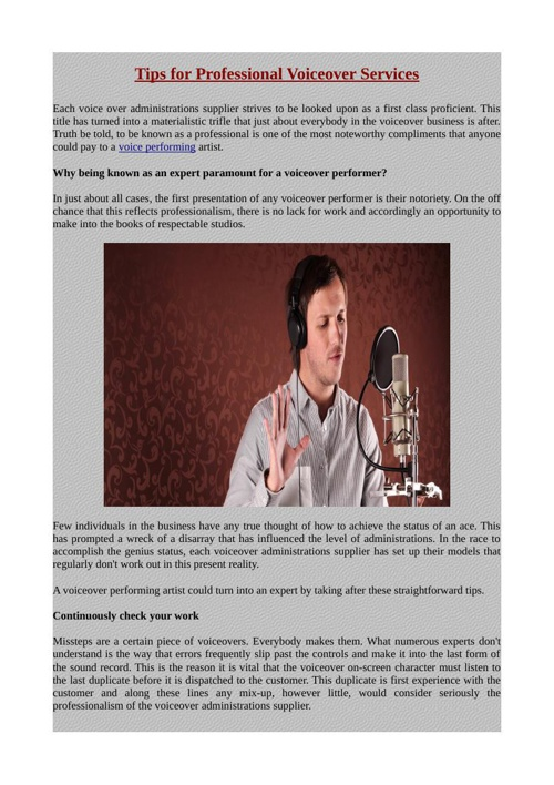 Tips for Professional Voiceover Services