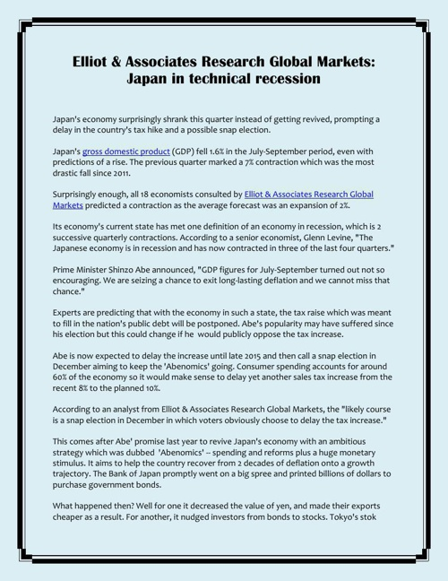 Elliot & Associates Research Global Markets: Japan in technical