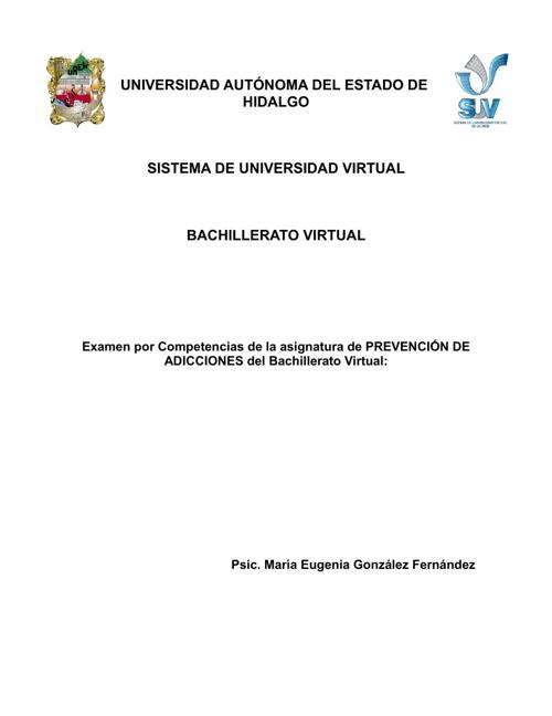 Examen por competencias_Prevención de adicciones